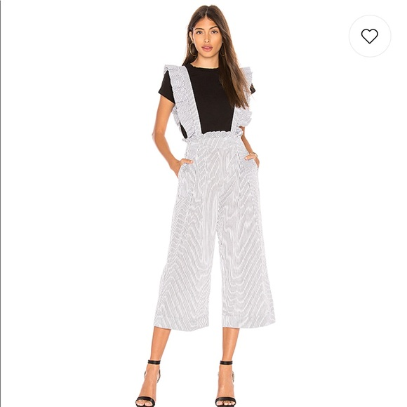 Ruffle Jumpsuit in Black & White. - size L (also in M,XS) Marled x Olivia Culpo